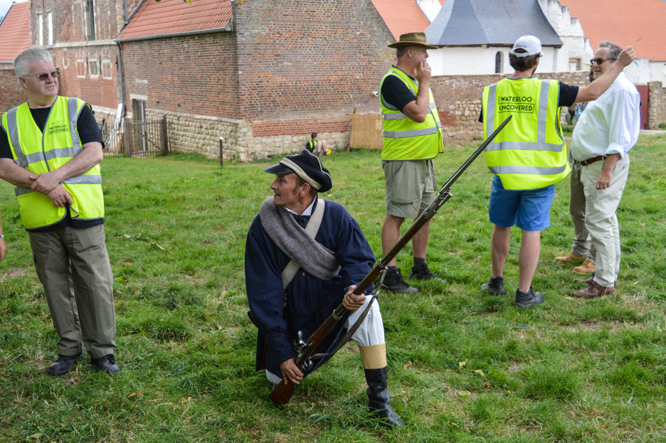Showing how to use a bayonet to defend against cavalry