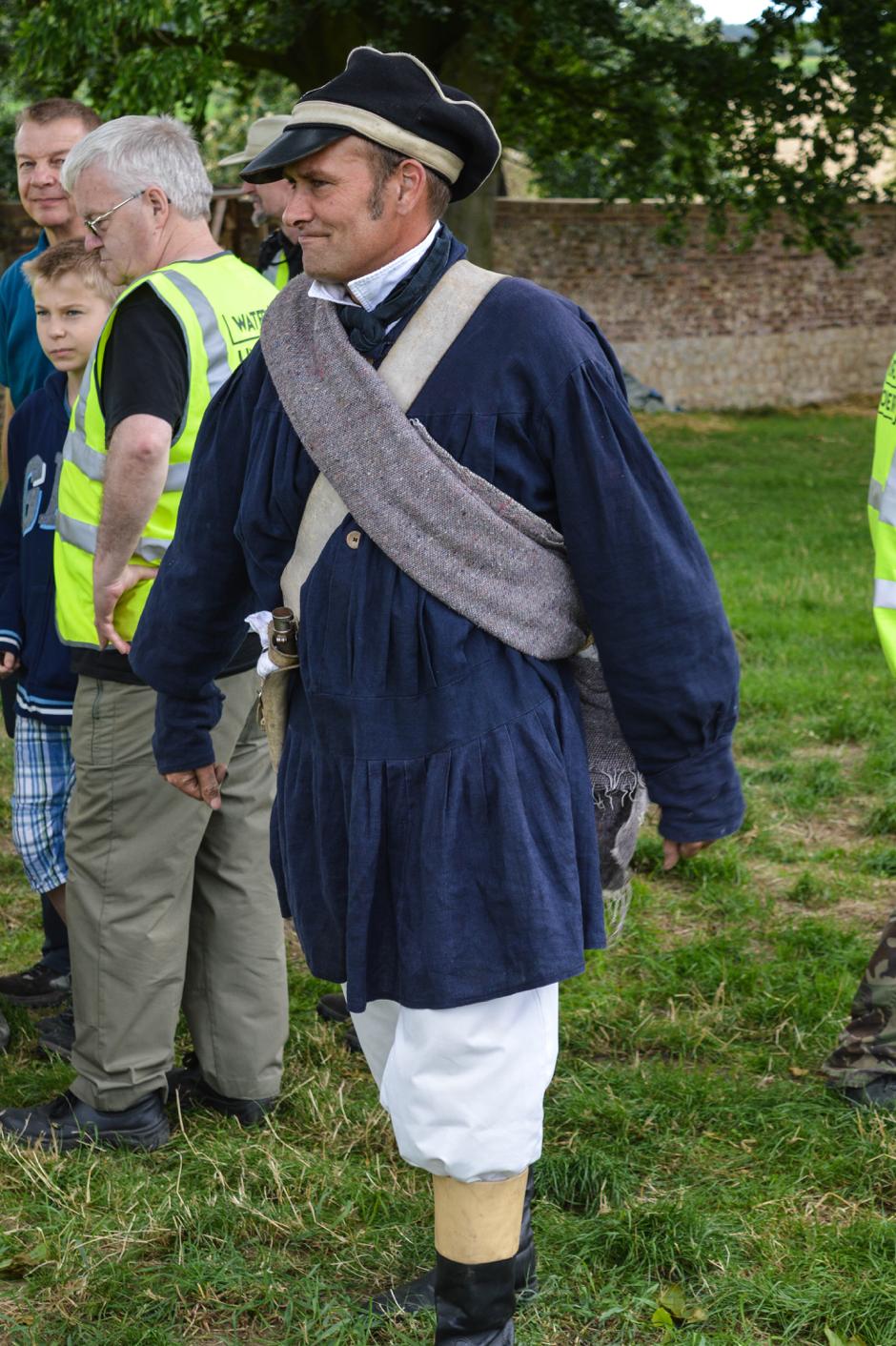 A reenactor in Prussian Uniform