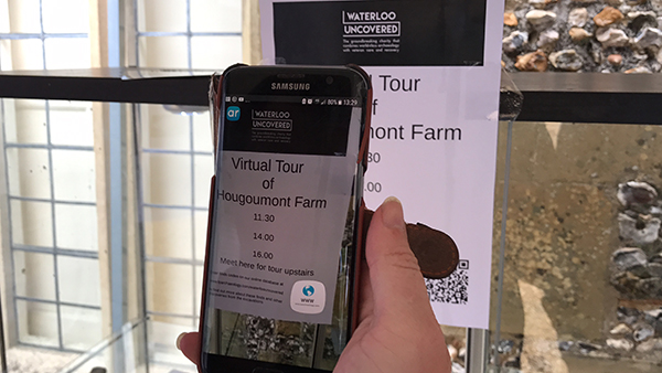 The QR code used for our virtual tour of Hougoumont