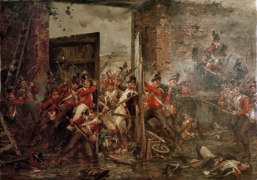 A painting entitled Closing the Gates at Hougoumont, Robert Gibb, 1903, held by the National War Museum showing British troops holding back the French who are trying to break through the gate and take Hougoumont