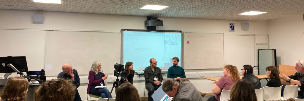 Members of the team including CEO Mark Evans and Archaeologist Cornelius Barton speak at Waterloo Uncovered's panel at the Theoretical Archaeology Group Conference