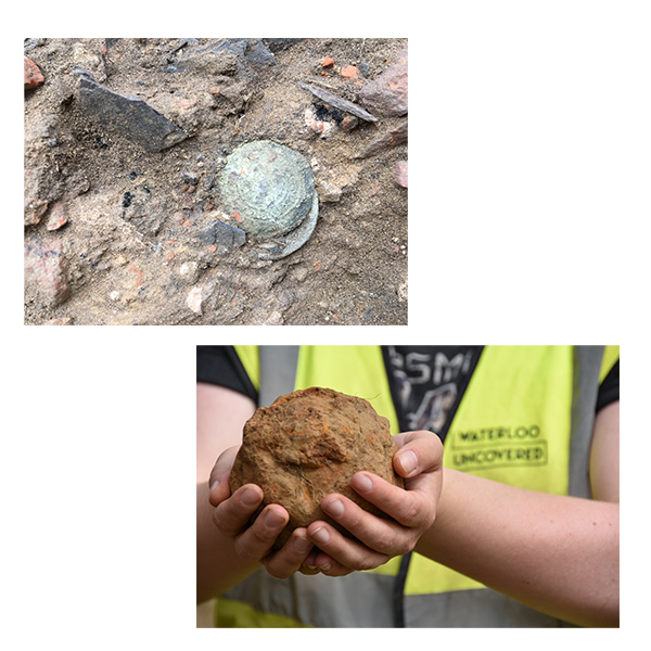 A Scots Guard Button found at Hougoumont, still in the ground. A veteran holds a large 6 pound cannonball found at Mont Saint Jean