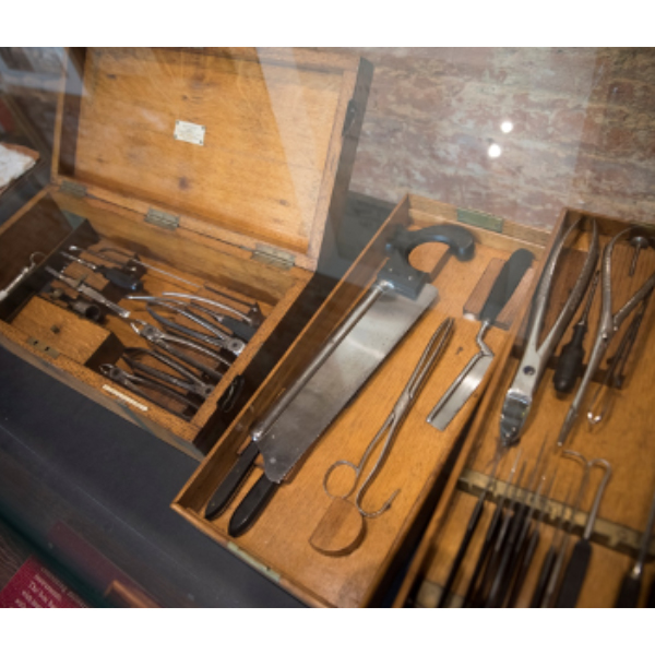 A display of 19th century surgical tools from Mick Crumplin's collection in the Military Surgical Museum at Mont Saint Jean