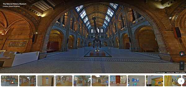 A screenshot of the virtual tour of the Natural History Museum, showing the dinosaur skeleton in the entrance hall